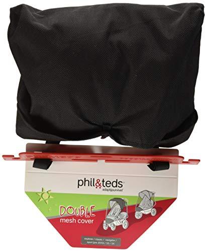 (phil&teds UV Sunny Days Mesh Cover for Double Navigator Stroller, Black)