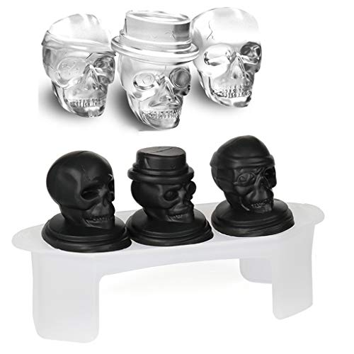 (Skull Ice Mold – Large Size Silicone Skull Ice Mold, 3 Realistic Skulls in one Tray, Great Party Addition, Making Your Drink Cool and Cooler – CUB0002 (Black 3)