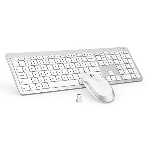 Wireless Keyboard and Mouse Combo - Full Size Slim Thin Wireless Keyboard Mouse with Numeric Keypad with On/Off Switch on Both Keyboard and Mouse - White & Silver (Keyboard And Mouse Wireless White)