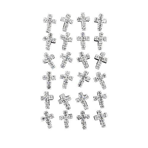 Lux Accessories Silver Tone Faux Crystal Rhinestone Cross Stud Earring Set (Rhinestone Silver Tone Cross)