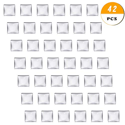 Pendant Tile Glass - 40 pcs Clear Glass Dome Tile Cabochon Square Flat Clear 1 inch (25.4mm) Non-calibrated Square for Photo Pendant Craft Jewelry Making