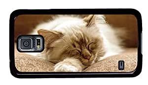 Hipster Samsung Galaxy S5 Cases buy fluffy cat sleeping PC Black for Samsung S5 by icecream design