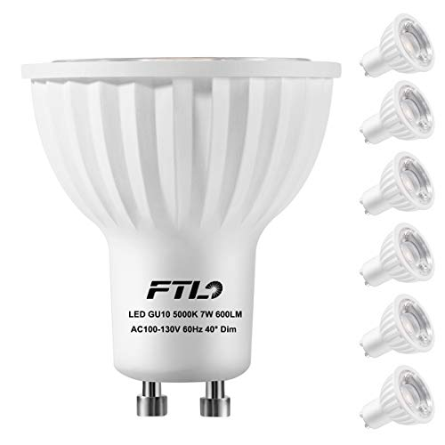 GU10 LED Light Bulbs, Dimmable 7 Watt Spotlight, Daylight White 5000K,50W 75W Halogen Bulbs Equivalent,CRI>80+,Track Lighting and Recessed Lighting Bulbs,6-Pack