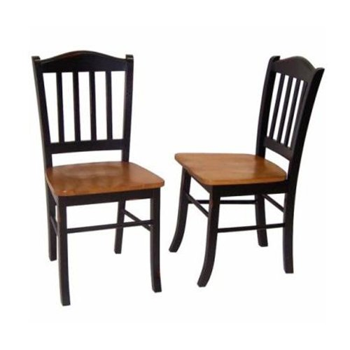 Boraam 30536 Shaker Dining Chair- Black-Oak- Set Of 2
