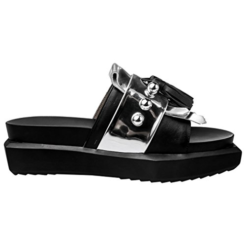 Square heels Patent Toe Leather Casual Dress Thick ENMAYER Silver Slippers Womens Cow Solid x0ZqSwnHI