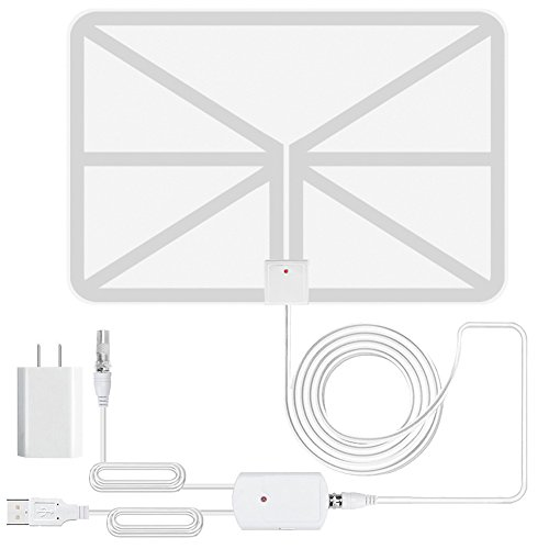 (1080p Digital Indoor TV Antenna, Improved Clear HD Amplified 50+ Miles Range Long High Deifinition TV Fox HDTV DTV VHF UHF Scout Style TVFox Cable Super Antenna - Transparent(AC Adapter Included))