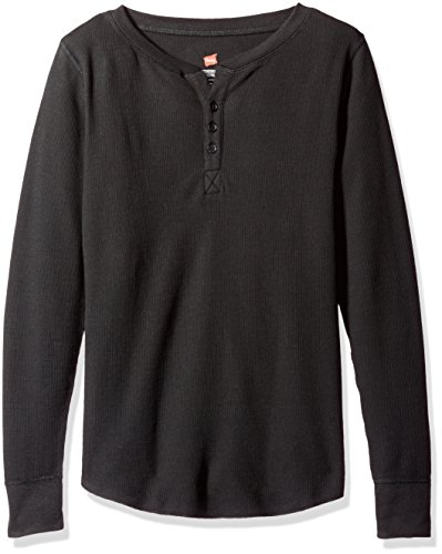 Hanes Women's Plus Size Ultimate Thermal Henley, Black, Medium