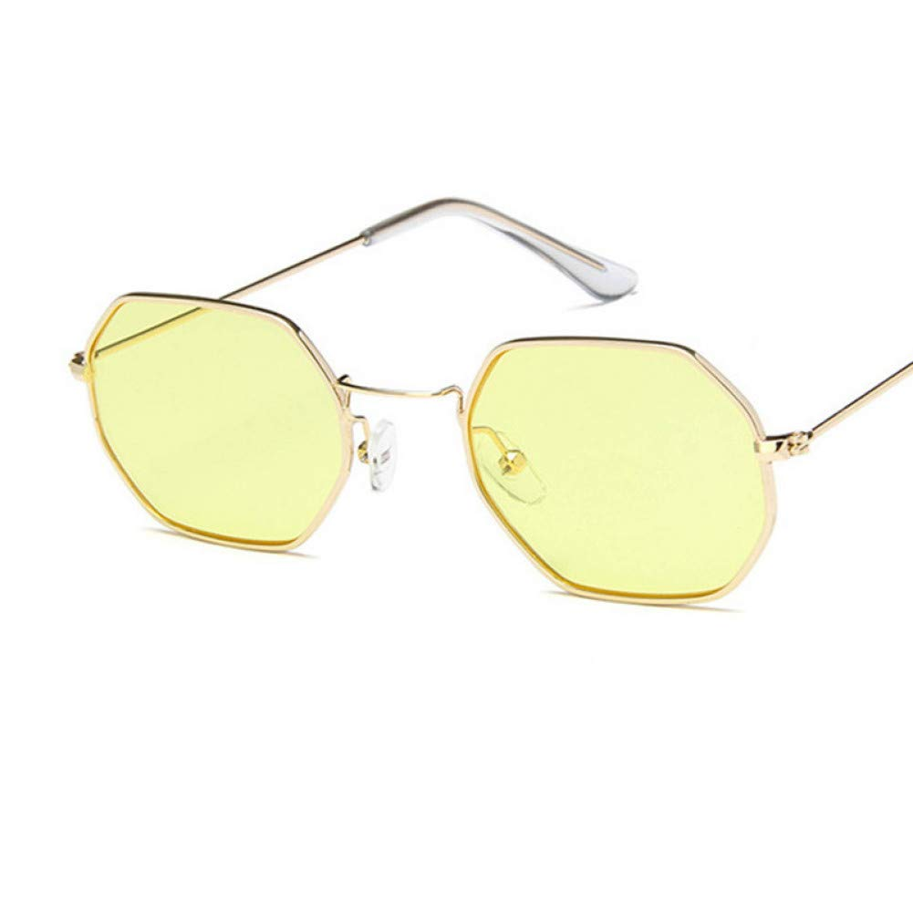 Originales gafas unisex de sol doradas con cristal de color.