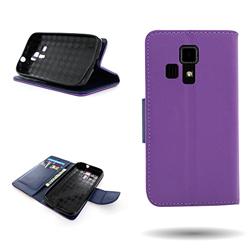 Purple + Navy CoverON Kyocera Hydro Icon Wallet Flip Phone Cover Case With Screen Protector for Kyocera Hydro Icon -  E257-CO-KYC6730-VW1-PU230