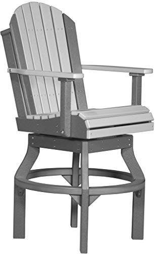Furniture Barn USA Set of 2 Outdoor Adirondack Swivel Chairs - Bar Height -Dove Gray and Slate Poly Lumber - Recycled Plastic (Stools Plastic Bar Recycled)