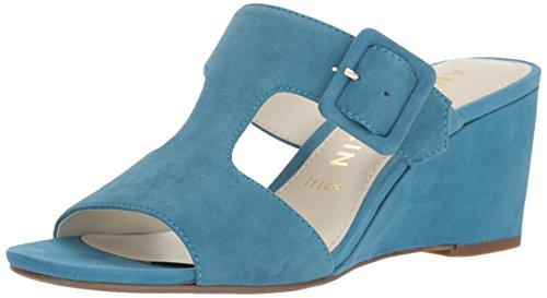 Anne Klein Women's Nilli Dress Wedge Sandal, Medium Blue Suede, 9 M (Klein Womens Wedge Shoes)
