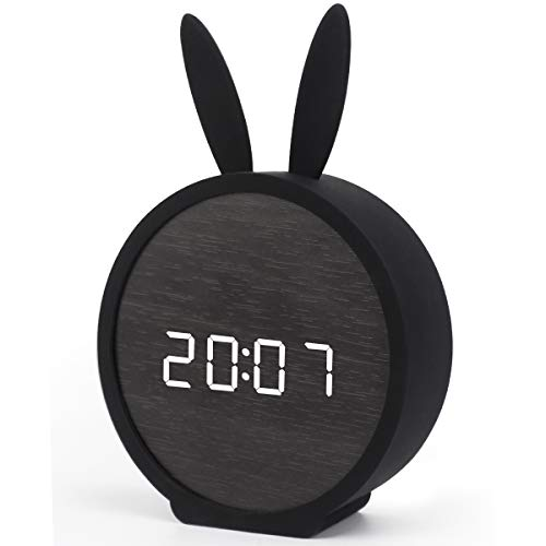 (BOERA Alarm Clock for Kids Bedroom,Digital LED Wooden Alarm Clock Large Display Time Temperature USB/Battery Powered (Rabbit))
