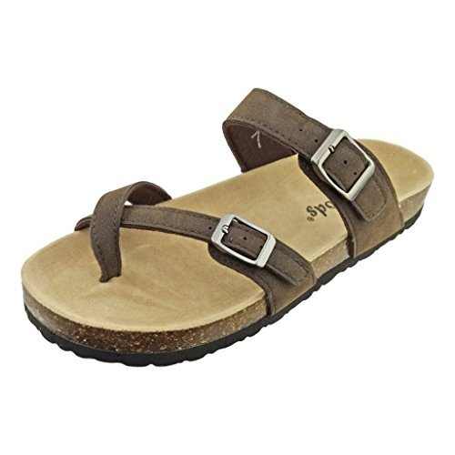 -30 Vegan Leather Adjustable Strap Toe-Loop Buckle Flats Sandals (9 B(M) US, Brown Nubuck) ()