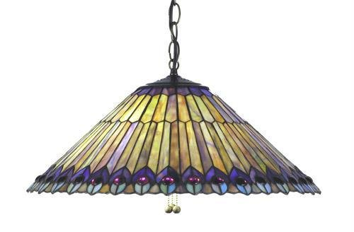 (20 Inch W Tiffany Jeweled Peacock Feathers Pendant Ceiling)