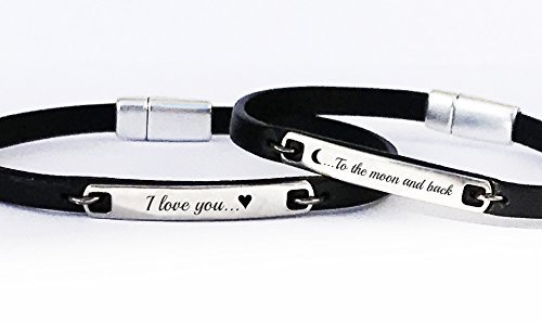 I Love You To the Moon and Back Set of 2 Matching Leather Bracelets Anniversary Gift Idea