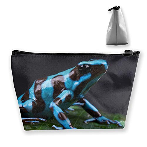 Frog Blue Makeup Bag Large Trapezoidal Storage Travel Bag Wash Cosmetic Pouch Pencil Holder Zipper Waterproof ()