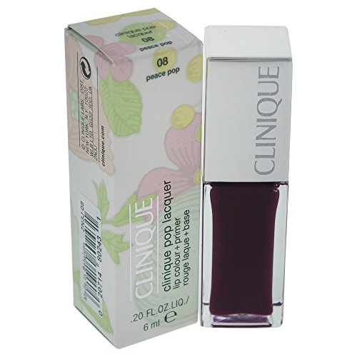 Clinique Pop Lacquer Lip Colour + Primer - # 08 Peace Pop Clinique Lip Gloss Women 0.2 oz (Pack of (0.2 Ounce Pop Gloss)