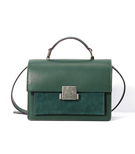 Ainifeel Women's Genuine Leather Small Shoulder Handbag Crossbody Bag (Small, Dark green) by Ainifeel