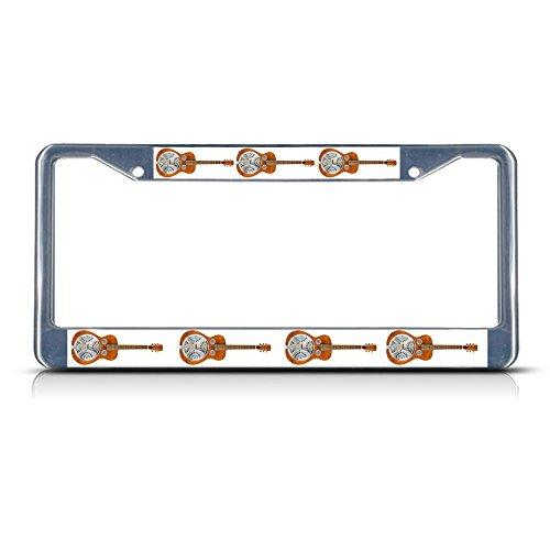Dobro Musical Instrument METAL Chrome License Plate Frame Tag Holder -