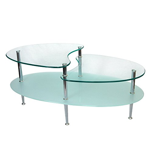 Walker Edison Glass Oval Coffee Table ()