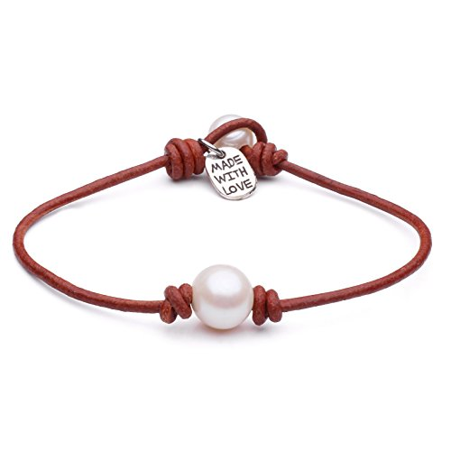 Women's Cultured Freshwater Single Pearl Bracelet and Leather Cord with Charm Jewelry 7.8'' Light ()