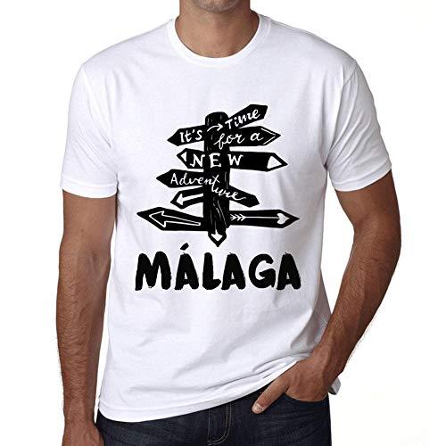 Hombre Camiseta Vintage T-shirt Gráfico Time For New Advantures Málaga Blanco