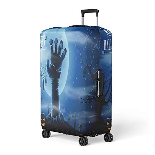Pinbeam Luggage Cover Hand Halloween Zombies and the Moon Scary Fear Travel Suitcase Cover Protector Baggage Case Fits 22-24 inches