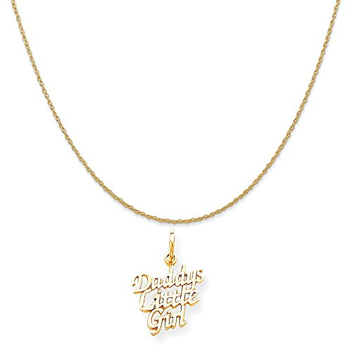 10k Yellow Gold Daddys Little Girl Charm on a 14K Yellow Gold Rope Chain Necklace, 18