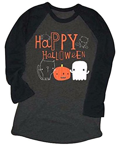Happy Halloween Pumpkin Face Printed Raglan Sleeve Shirt Top for Women Size L -