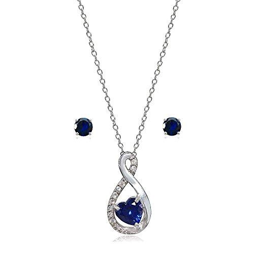 (Lovve Sterling Silver Created Blue Sapphire & White Topaz Infinity Heart Necklace Earrings Set)