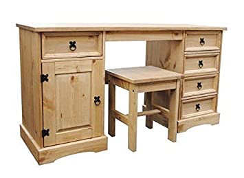 buy popular fbd9e 59bf4 Home Essentials Inc CORONA DOUBLE DRESSING TABLE 5 DRAWER 1 DOOR DISTRESSED  WAXED PINE
