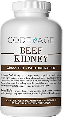 Codeage Grass Fed Kidney, 180 Count (High in Selenium, B12, DAO) — Supports Kidney, Urinary, Thyroid & Histamine Health, 3000mg per Servings, 100% Pasture Raised in Argentina