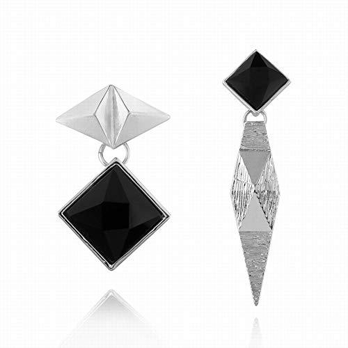 Kin Trendy Fashion Earrings Personalized Geometric Diamond Diagonal Earrings (Color : White)