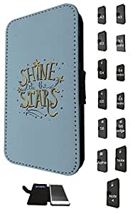 823 - Shine Like the Stars Design Fashion Trend Credit Card Holder Purse Wallet Book Style Tpu Leather Flip Pouch Case Samsung Galaxy S6 i9700