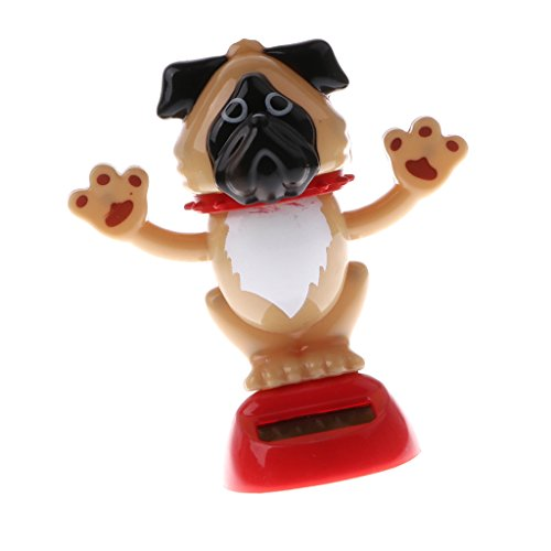 Baoblaze Solar Powered Party Dancing Nodding Head Puppy Dog Animal Novelty Toy Car Home Tabel Christmas Decoration