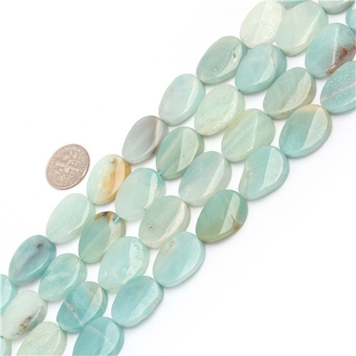 GEM-inside Natural Genuine Multi Color Amazonite Gemstone Loose Beads 15x20mm Twist Oval Beads For Jewelry ()