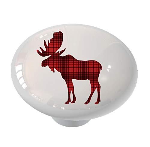 (Woodland Moose Silhouette Red Plaid Drawer/Cabinet Knob by Gotham Decor)
