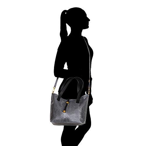 Mujer Bolso Python patrón con grandes asas y correa de hombro en cuero genuino Made in Italy Chicca Borse 30x24x13 Cm Gris