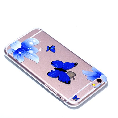 """Crisant Hübscher blauer Schmetterling Drucken Design weich Silikon Ultra dünn TPU Transparent schutzhülle Hülle für Apple iPhone 6 Plus / 6S Plus 5.5"""" (5,5''),Premium Handy Tasche Schutz Case Cover Cr"""