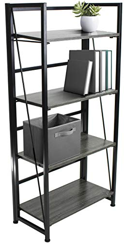 Sorbus Bookshelf Rack 4 Tiers Open Vintage Bookcase Storage Organizer, Modern Wood Look Accent Metal Frame, Shelf Rack Furniture Home Office, No Assembly Required by Sorbus (Image #7)