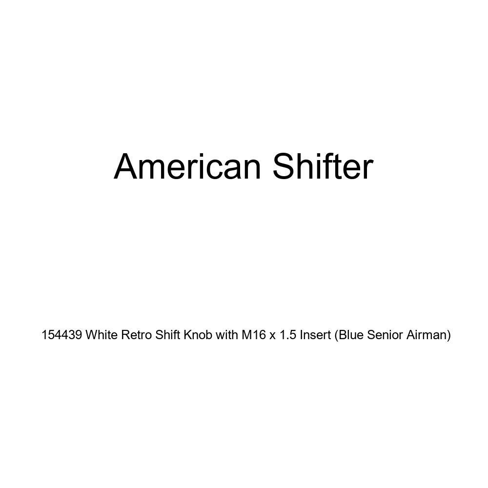 Blue Senior Airman American Shifter 154439 White Retro Shift Knob with M16 x 1.5 Insert