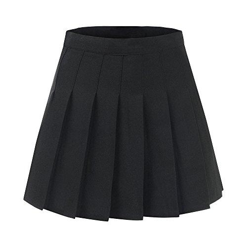 Pleated School Girl Skirt (Makroyl Women High Waist Pleated Dresses for Teen Tennis Scooters Mini Skirts (Black, S))