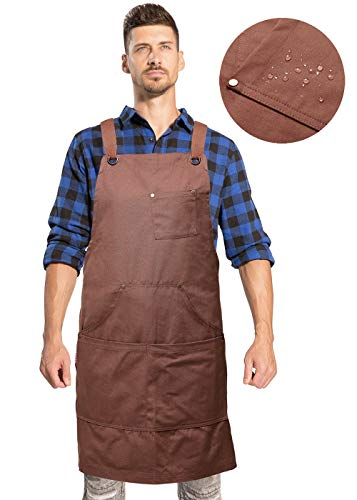 UNISI Goods Chef Works Apron with Tool Pockets, Waxed Canvas Work Aprons for Men, Cross Back Long Straps Waterproof Aprons, Apron for Kitchen BBQ and Grill Quick Release, Adjustable M to XXL(Tan)