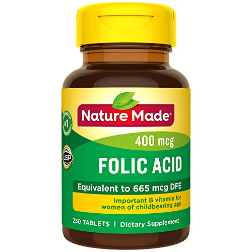 Nature Made Folic Acid 400 mcg (665 mcg DFE) Tablets, 250 Count (Packaging May Vary) (Best Folic Acid For Pregnancy)