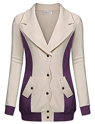 Helloacc Women Long Sleeves Blouse Button Up Office Blazer Outerwear Jacket Coat