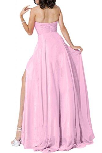 Toskana novia Mujer Mode Corazón Forma noche de gasa Vestidos Largo de Fiesta Vestidos de novia Ball Rosa