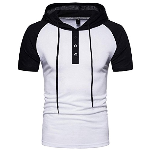 (SPE969 T-Shirt Top Blous Casual Patchwork Hoodie Men's Summer Hooded Short Sleeved White)