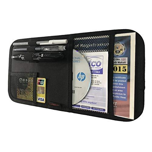 ZugGear Car Sun Visor Organizer, Auto Visor Holder Interior Accessories Pocket Organizer – Car Registration Holder Document Storage Pouch Pen Holder – Black