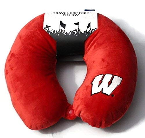 The Northwest Company Officially Licensed NCAA Wisconsin Badgers Applique Travel Neck Pillow for Airplanes, Camping, Travel and Home Use, Red, One Size