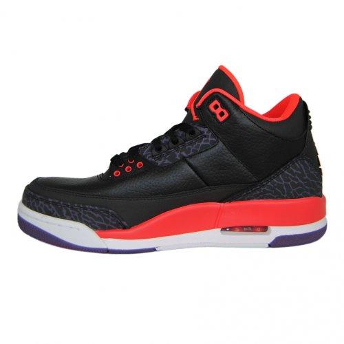 Nike Air Jordan 3 Retro Heren Hi Top Basketbal Trainers 136064 Sneakers Schoenen Zwart / Bright Crimson-canyon Purple